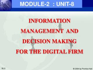 INFORMATION MANAGEMENT  AND DECISION MAKING FOR THE DIGITAL FIRM