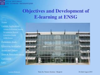 Objectives and Development of  E-learning at ENSG