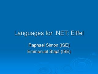 Languages for .NET: Eiffel