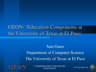 GEON:  Education Components at the University of Texas at El Paso