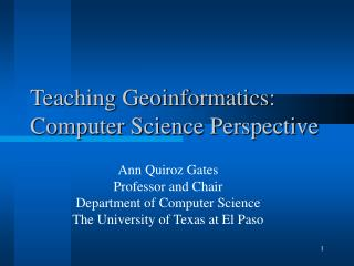 Teaching Geoinformatics: Computer Science Perspective