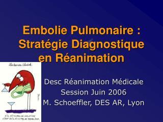Embolie Pulmonaire : Stratégie Diagnostique en Réanimation