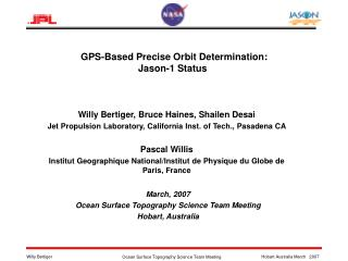 GPS-Based Precise Orbit Determination:  Jason-1 Status