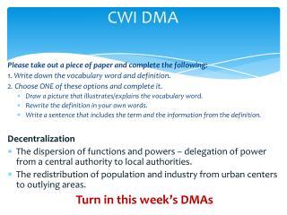 CWI DMA