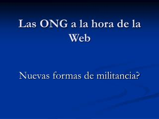 Las ONG a la hora de la Web