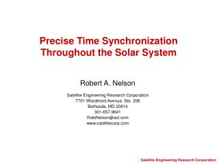 Precise Time Synchronization Throughout the Solar System