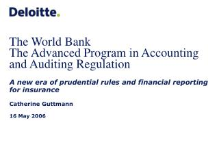 The World Bank  The Advanced Program in Accounting and Auditing Regulation