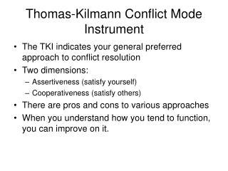 Thomas-Kilmann Conflict Mode Instrument