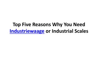 Top Five Reasons Why You Need Industriewaage or Industrial S