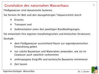 Grunds tze des naturnahen Wasserbaus