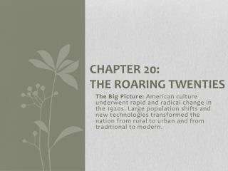 Chapter 20:  The Roaring Twenties