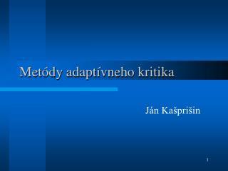 Metódy adaptívneho kritika
