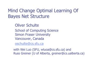 Mind Change Optimal Learning Of Bayes Net Structure