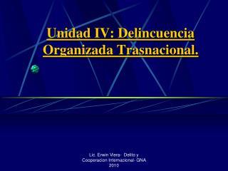 Unidad IV: Delincuencia Organizada Trasnacional.