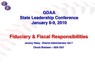 GDAA  State Leadership Conference January 8-9, 2010