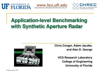 Application-level Benchmarking with Synthetic Aperture Radar