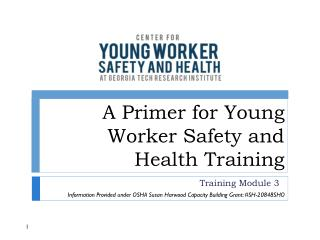 A Primer for Young Worker Safety and Health Training