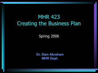 MHR 423 Creating the Business Plan