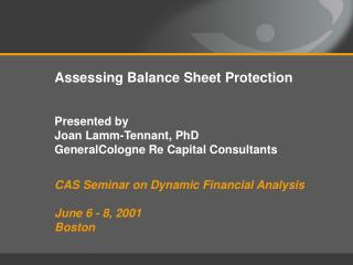 Assessing Balance Sheet Protection Presented by  Joan Lamm-Tennant, PhD