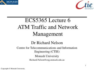 ECS5365 Lecture 6 ATM Traffic and Network Management