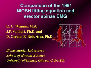 Comparison of the 1991 NIOSH lifting equation and erector spinae EMG