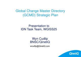 Global Change Master Directory  (GCMD) Strategic Plan