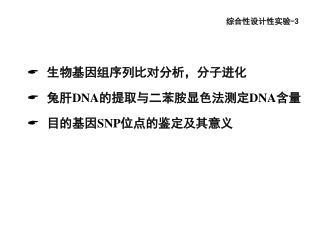 生物基因组序列比对分析,分子进化 兔肝 DNA 的提取与二苯胺显色法测定 DNA 含量 目的基因 SNP 位点的鉴定及其意义
