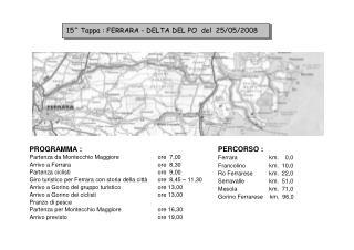 15^ Tappa : FERRARA - DELTA DEL PO  del  25/05/2008