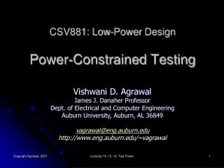 CSV881: Low-Power  Design Power-Constrained Testing