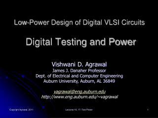 Low-Power Design of Digital VLSI Circuits  Digital Testing and Power