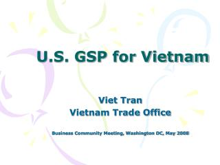 U.S. GSP for Vietnam