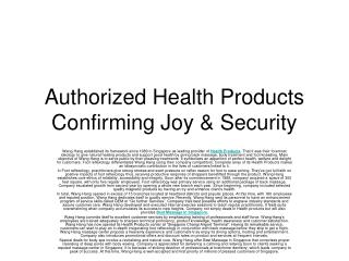 Authorized Health Products Confirming Joy & Security