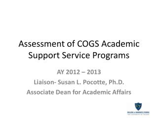 Assessment of COGS Academic Support Service Programs