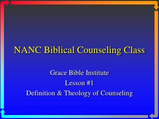 NANC Biblical Counseling Class