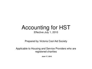 Accounting for HST Effective July 1, 2010