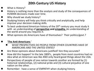 20th Century US  History