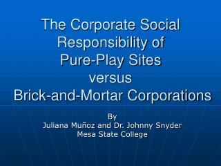 The Corporate Social Responsibility of  Pure-Play Sites  versus  Brick-and-Mortar Corporations
