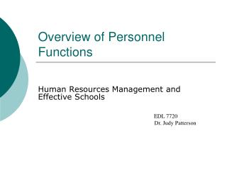 Overview of Personnel Functions