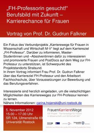 """""""FH-Professorin gesucht!"""" Berufsbild mit Zukunft –  Karrierechance für Frauen"""