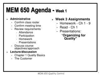MEM 650 Agenda - Week 1