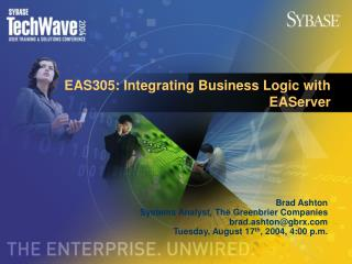 EAS305: Integrating Business Logic with EAServer