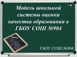 Модель школьной системы оценки качества образования в ГБОУ СОШ №904