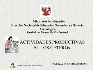ACTIVIDADES PRODUCTIVAS EL LOS CETPROs.
