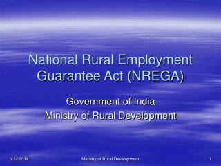 National Rural Employment Guarantee Act NREGA
