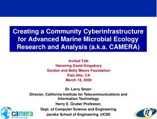 Invited Talk  Honoring David Kingsbury Gordon and Betty Moore Foundation Palo Alto, CA
