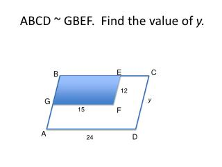 ABCD ~ GBEF.  Find the value of  y.