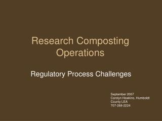 Research Composting Operations