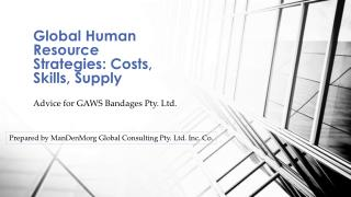 Global Human Resource Strategies: Costs, Skills, Supply