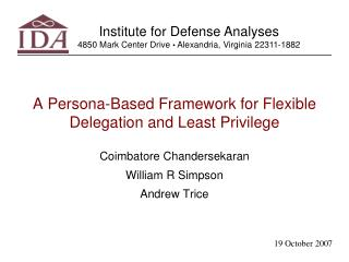A Persona-Based Framework for Flexible Delegation and Least Privilege