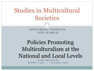 Studies in Multicultural Societies